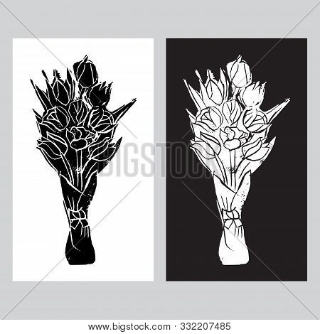 Monochrome Templates Of  Bouquets With Black And White Tulips  In Popart Style. Hand Made Linocut. V
