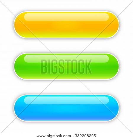 Set Of Vector Glossy Buttons. Blank Web Glossy Buttons. Colored Bright Buttons Isolated.