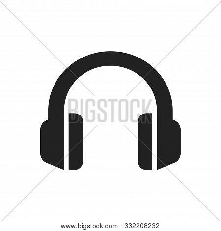 Headphones Simple Black Vector Icon. Earphones Or Headphone Glyph Symbol.