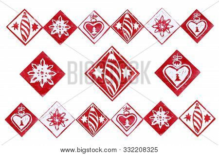 Horizontal Template With Red  Christmas Decorations Isolated On White Background. Hand Made Linocut.