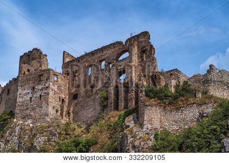 The Ancient Castle Of Beckov. Slovak Ancient Ruins.tematin Castle Ruins, Slovak Republic, Europe. Tr