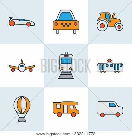 Transit Icons Colored Line Set With Tractor, Campervan, Sport Car And Other Agriculture Car Elements