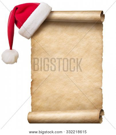 Old paper scroll and christmas hat isolated 3d illustration