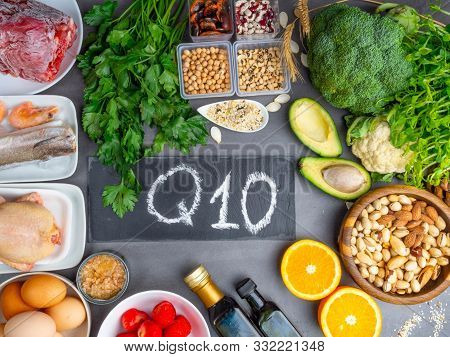 Composition With Food Contains Coenzyme Q10, Antioxidant, Produce Energy To Cell, Products Against F