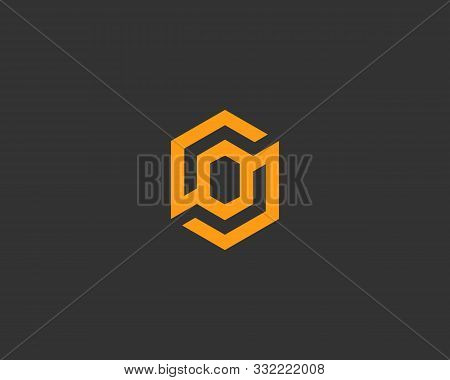 Abstract Letter O Vector Logo Icon Design Modern Minimal Style Illustration. Hexagon Alphabet Emblem