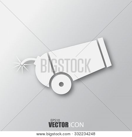 Cannon Icon In White Style With Shadow Isolated On Grey Background.