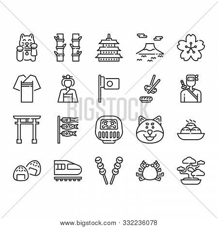 Japan Icon And Symbol Set. Vector Illustration