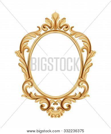Louis Xvi Style Mirror With Golden Neoclassic Ornaments. Vector