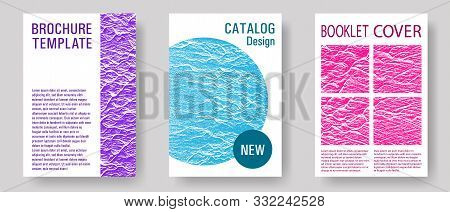 Magazine Cover Layouts Vector Design. Teal Pink Purple Waves Texture Backdrops. Stylish Magazine Tem