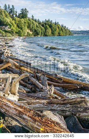 Whitewater Flys Up As Wave Hit Shore On The Puget Sound.