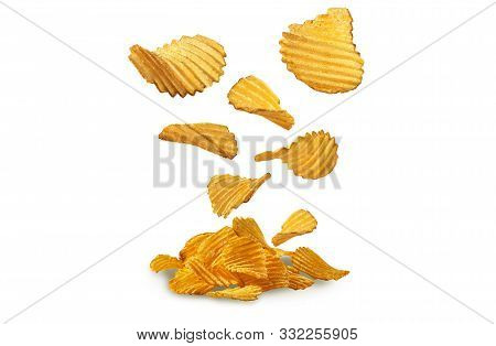 Potato Crisps Falling Down, Isolated On White Background With Copy Space For Text Or Images. Crispy,