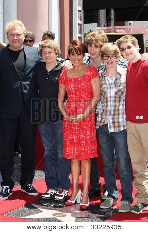 LOS ANGELES - MAY 22: Patricia Heaton, David Hunt, their four sons at a ceremony honoring Patricia Heaton with a Star on The Hollywood Walk of Fame on May 22, 2012 in Los Angeles, California