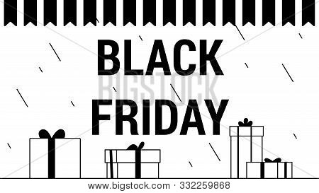 Vector Illustration Of A Black Friday Sale Sign Made Of Handwritten Text With Graphic Elements And G