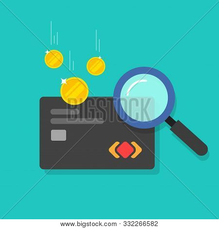 Money Fraud Verification Vector Icon, Flat Cartoon Electronic Money In Debit Card Investigation Via