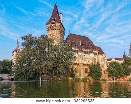 Vajdahunyad Castle With Lake At Day, Budapest, Hungary