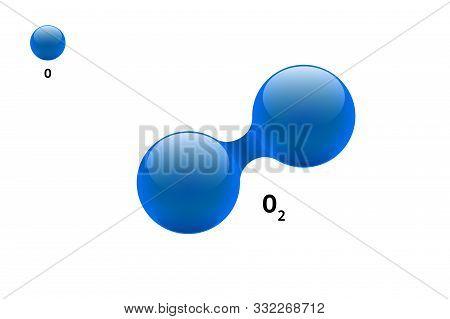 Chemistry Model Molecule Diatomic Oxygen O2 Scientific Element Formula. Integrated Particles Natural