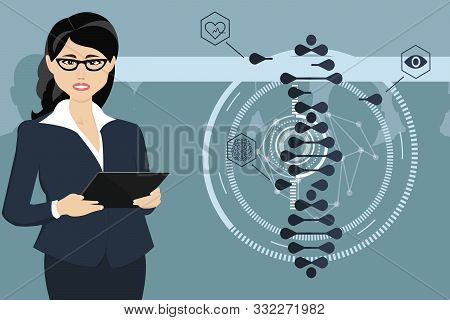 The Woman Works With A Tablet. Crispr Cas9-genetic Engineering. Illustration Of A Gene Editing Tool