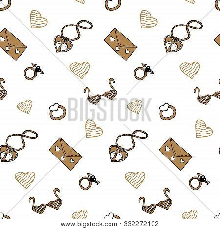 Valentine's Day Seamless Pattern With Gold Elements In Doodle Style. Locket, Glasses, Ring, Love Let