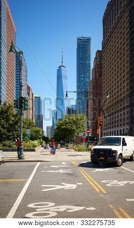 New York, Usa - July 8, 2018: New York Cityscape With One World Trade Center (also Known As One Wtc