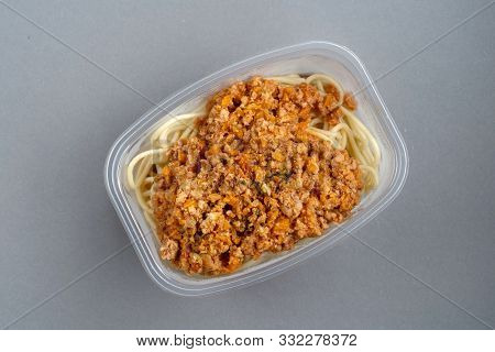 Pasta With Minced Meat And Onion In Navy-style On A Gray Background.