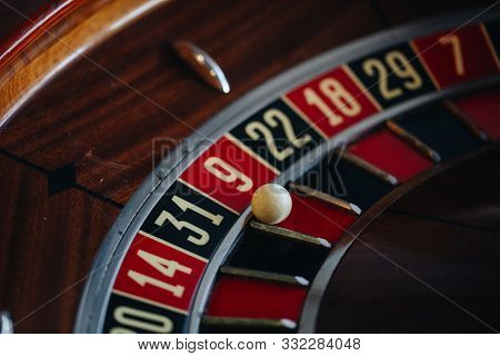 Beautiful Casino Roulette Close-up With Playing Chips