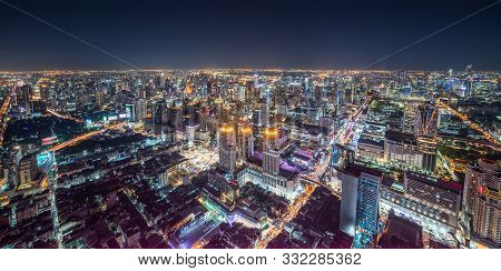 Aerial Panoramic Cityscape View Of Bangkok With Street Lights At Night