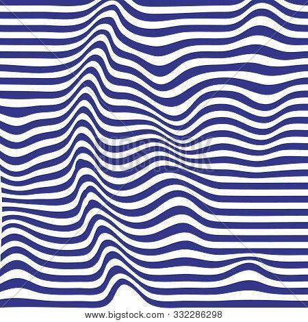 Striped Background. Wave Trough Zebra Black White Lines. Vector Texture Illustration. Distortion Vol