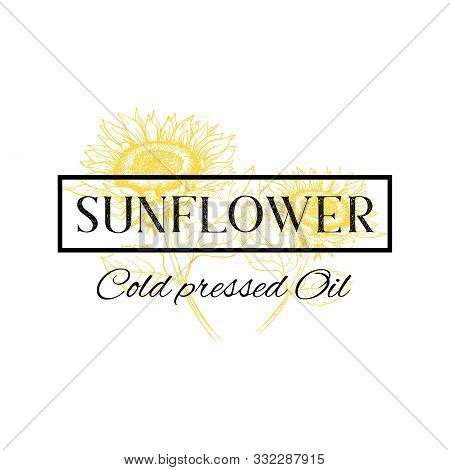 Cold Pressed Sunflower Oil Vector Hand Drawn Logo Template. Yellow Flower Sketch In Black Frame Illu