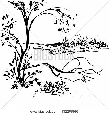 Nature Landscape Black Ink Vector Hand Drawn Illustration. Traditional Oriental Scenery With Tree. B