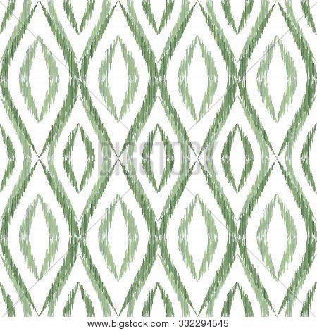 Ikat Ogee Seamless Vector Pattern Illustration. Ethnic Fabric Print Geometric Ikat Pattern. Modern O