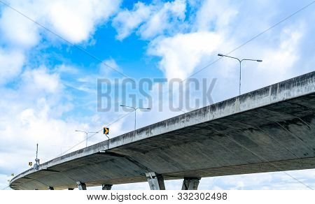 Bottom View Of Elevated Concrete Highway. Overpass Concrete Road. Road Flyover Structure. Modern Mot