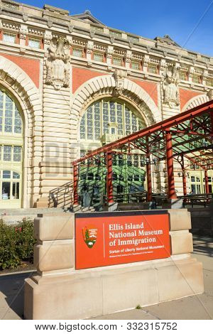 NEW YORK, NY - 04 NOV 2019: Entrance to the Main Building at Ellis Island National Museum of Immigration, Statue of Liberty National Monument.