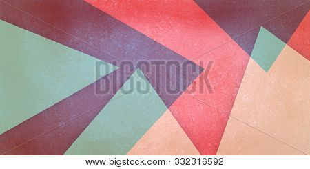 Abstract Red Burgundy Blue And Beige Background With Triangle Shapes In Modern Clean Material Design