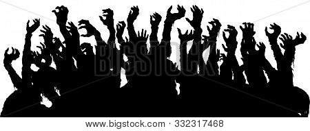 A Sinister Group Of Zombie Extending Hands Like A Crowd On A Gig