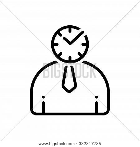 Black Line Icon For Punctual Schedule Timely Periodic