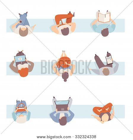 Set Of People Sitting On The Bench In Different Poses Top View Flat Vector Illustration