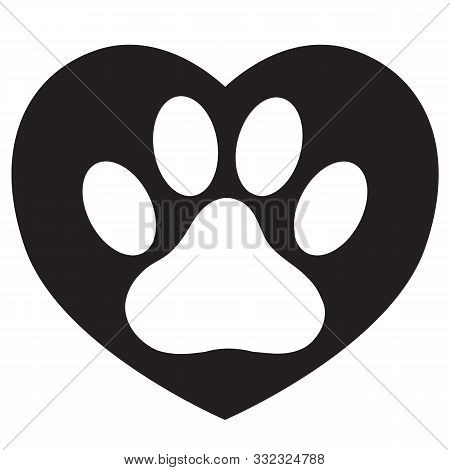 Heart With Animals Footprint Icon On White Background. Flat Style. Pet Paw In Heart Symbol. Love Paw