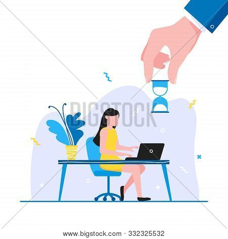 Time Management Business Concept Template. Woman Sitting Near The Table And Working On Laptop. Busin