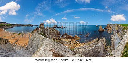 Beautiful Arnia Beach (playa Arnia, Biskaya, Cantabria, Spain) Summer Top View. Atlantic Ocean Coast