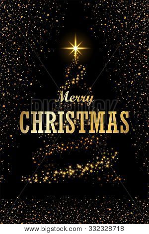 Christmas Tree, Text, Black Background. Gold Christmas Tree, Symbol Of Happy New Year, Merry Christm