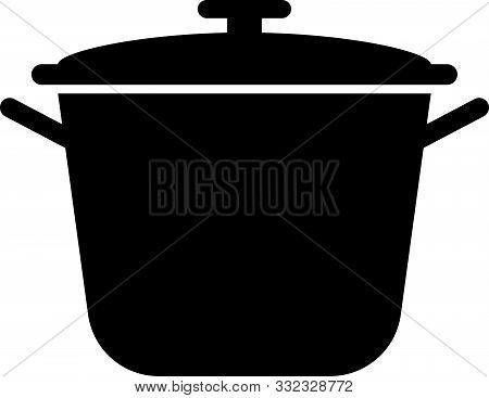 Black Cooking Pot Icon Isolated On White Background. Boil Or Stew Food Symbol. Vector Illustration