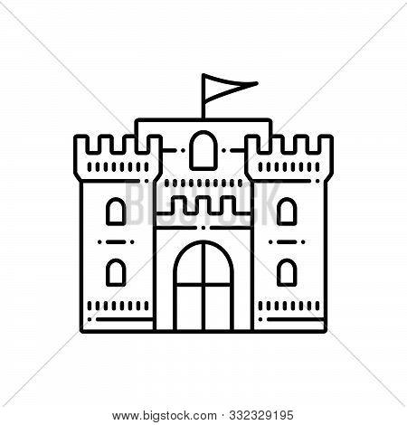 Black Line Icon For Castle-flag Chateau Mansion Stronghold Citadel Flanker Castle