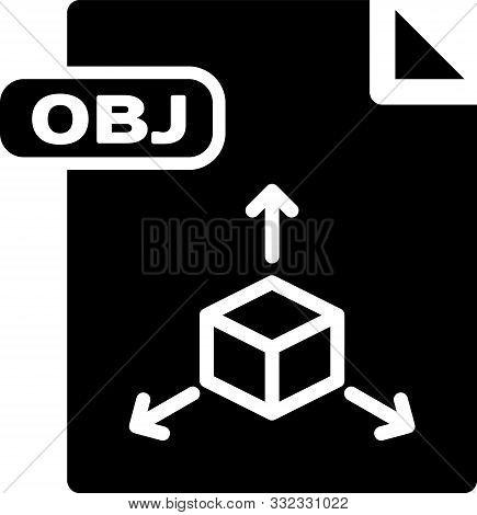 Black Obj File Document. Download Obj Button Icon Isolated On White Background. Obj File Symbol. Vec