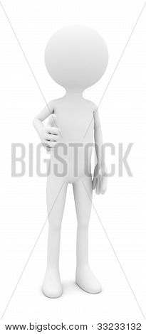 3d person showing thumbs on white background