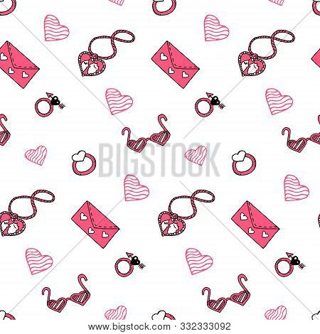 Valentine's Day Seamless Pattern With Pink Elements In Doodle Style. Locket, Glasses, Ring, Love Let