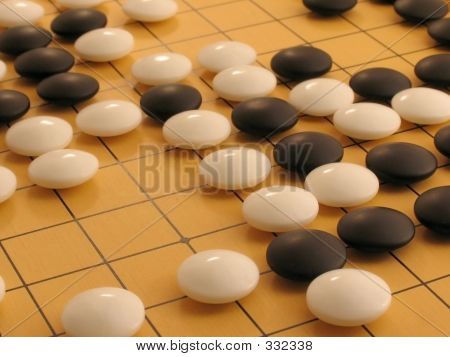 Go Board - Mid Game Detail