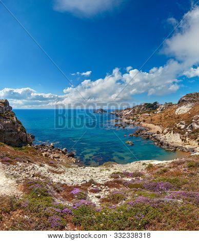 Paradise Sea Beach Cala Paradiso Near Rocca Di San Nicola, Agrigento, Sicily, Italy. Two Shots Stitc