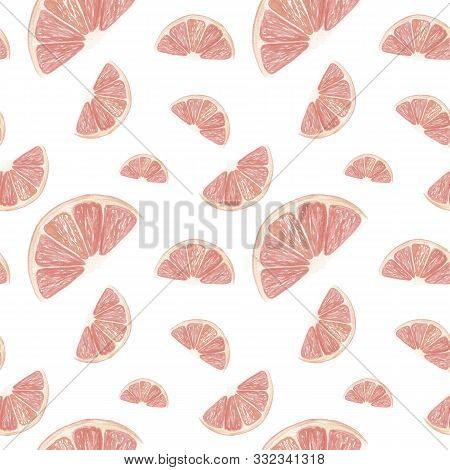 Grapefruit Background. Hand Drawn Watercolor Grapefruit Slices Of Grapefruit On A White Backdrop. Se