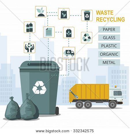 Rubbish Bin For Recycling Different Types Of Waste On City Background And Garbage Truck. Sort Plasti