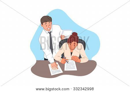 Contract Signing, Agreement, Office Paperwork, Business And Finance Concept. Businessman Bringing Do